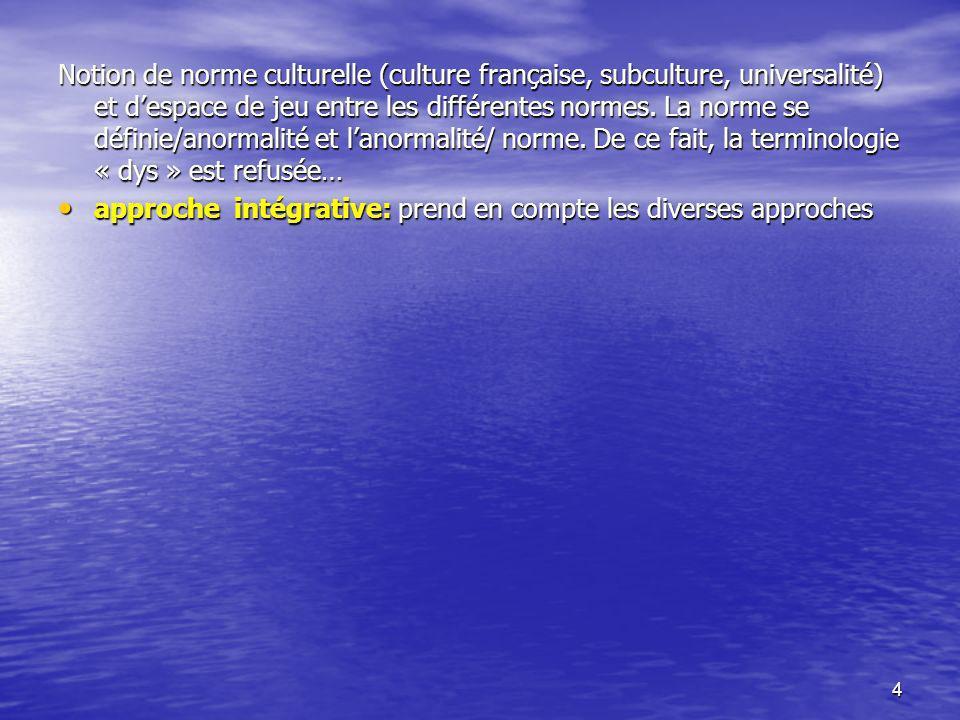 Notion de norme culturelle (culture française, subculture, universalité) et d'espace de jeu entre les différentes normes. La norme se définie/anormalité et l'anormalité/ norme. De ce fait, la terminologie « dys » est refusée…