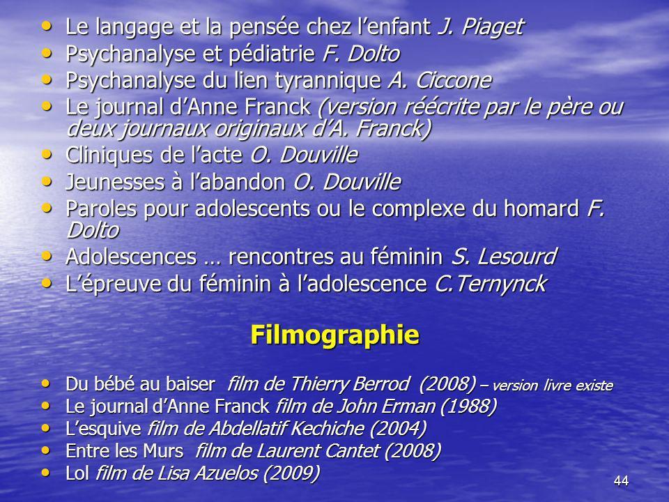 Filmographie Le langage et la pensée chez l'enfant J. Piaget