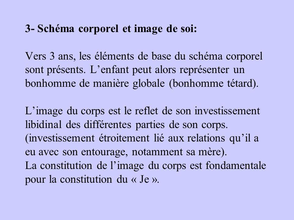 3- Schéma corporel et image de soi: Vers 3 ans, les éléments de base du schéma corporel sont présents.