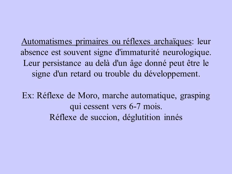Automatismes primaires ou réflexes archaïques: leur absence est souvent signe d immaturité neurologique.