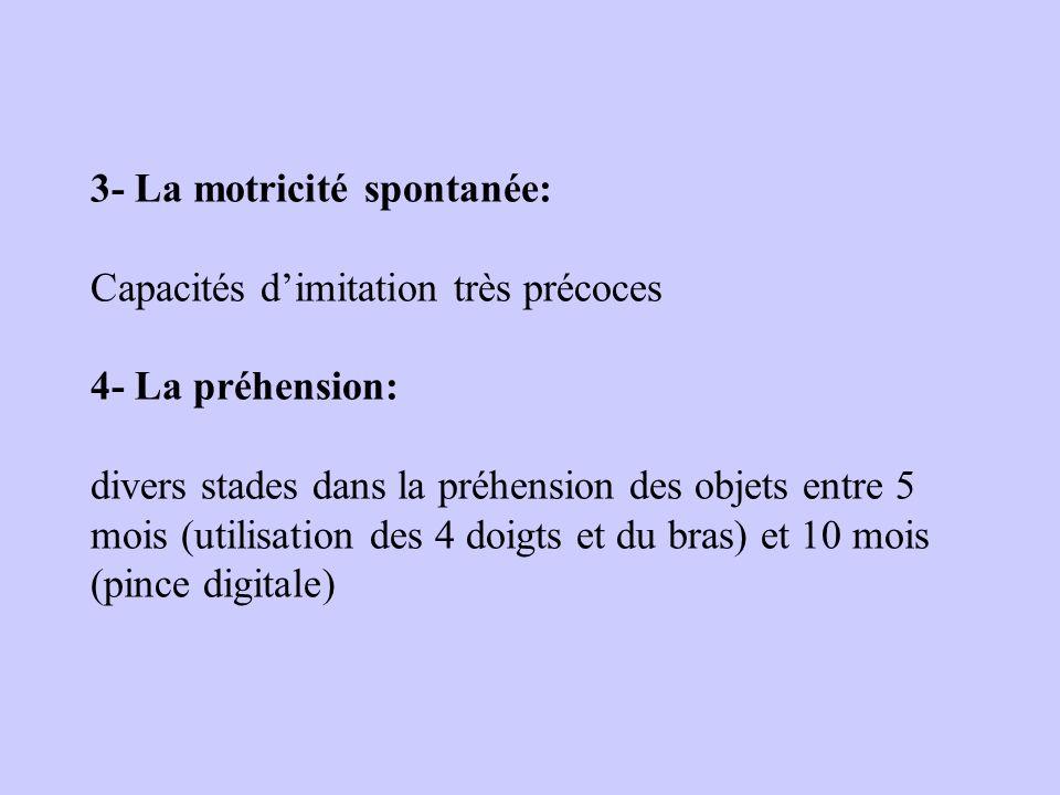 3- La motricité spontanée: Capacités d'imitation très précoces 4- La préhension: divers stades dans la préhension des objets entre 5 mois (utilisation des 4 doigts et du bras) et 10 mois (pince digitale)