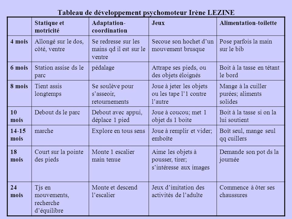 Tableau de développement psychomoteur Irène LEZINE