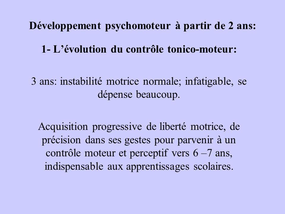 Développement psychomoteur à partir de 2 ans: