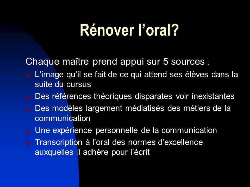 Rénover l'oral Chaque maître prend appui sur 5 sources :