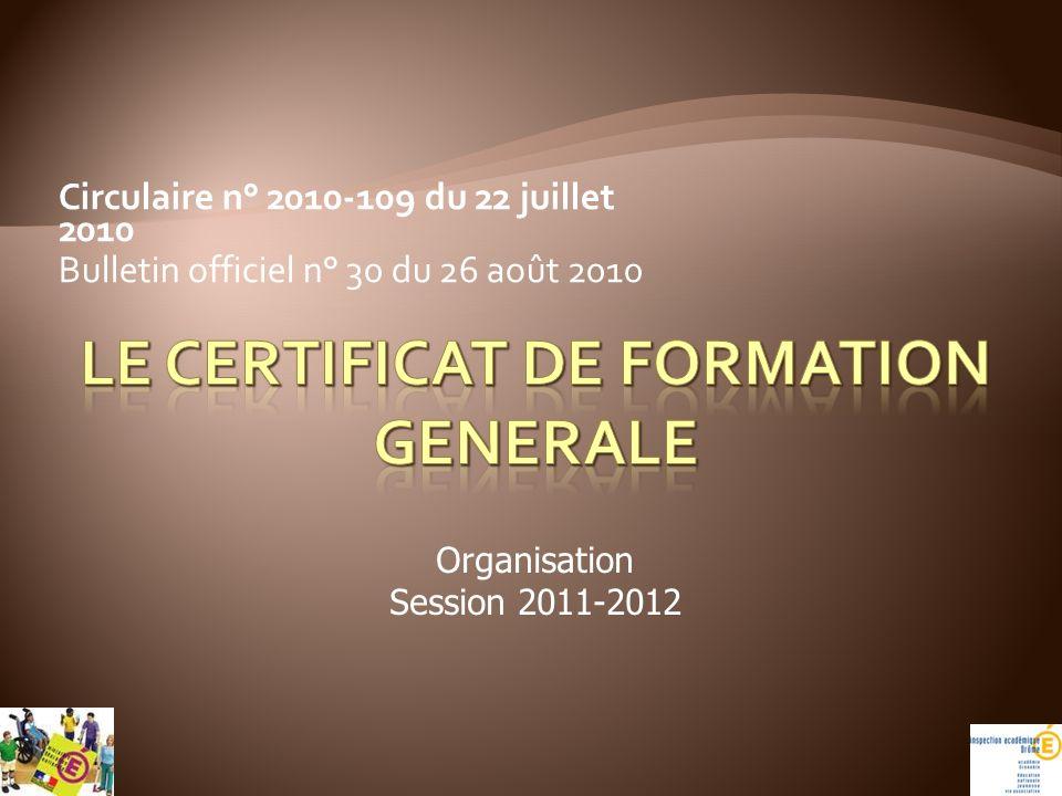 Le certificat de formation generale