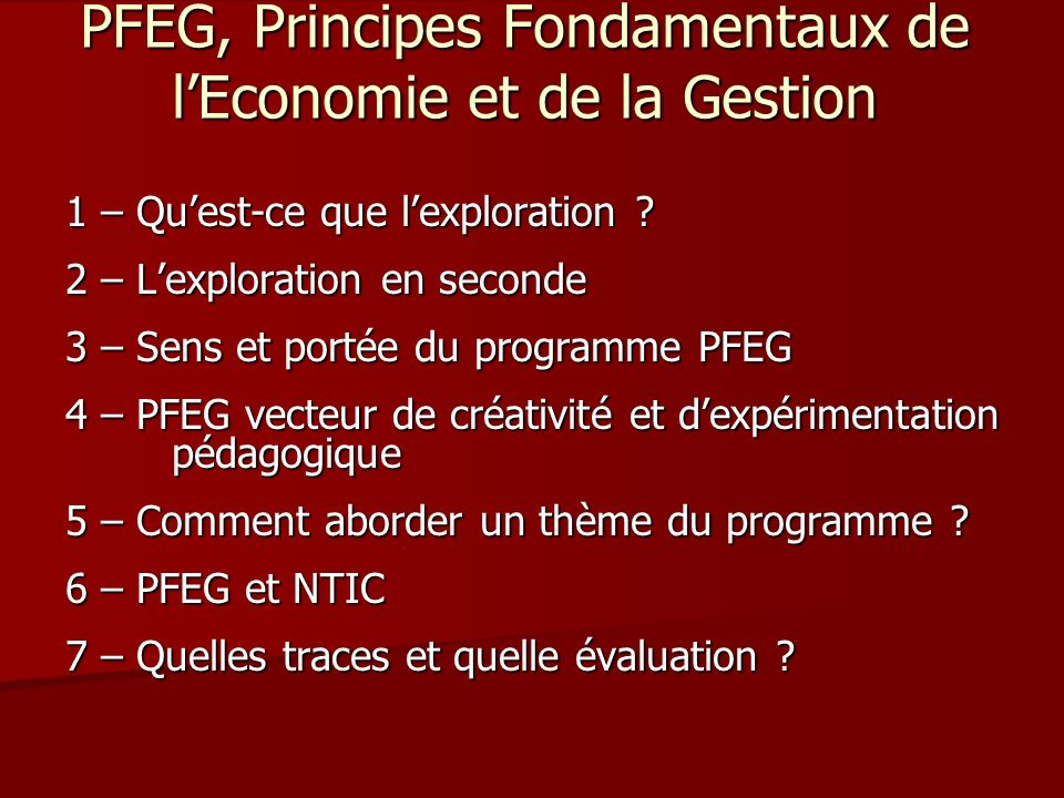 PFEG, Principes Fondamentaux de l'Economie et de la Gestion
