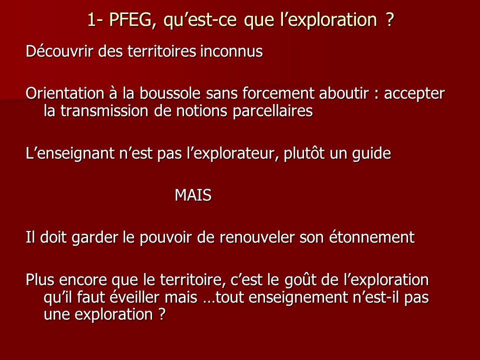 1- PFEG, qu'est-ce que l'exploration