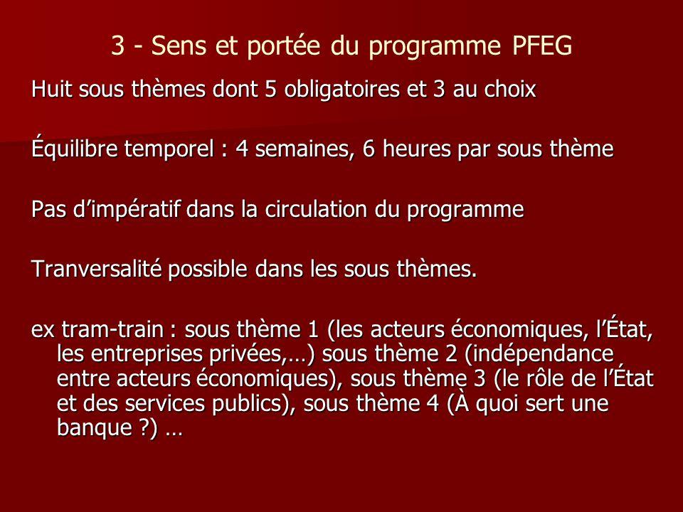 3 - Sens et portée du programme PFEG