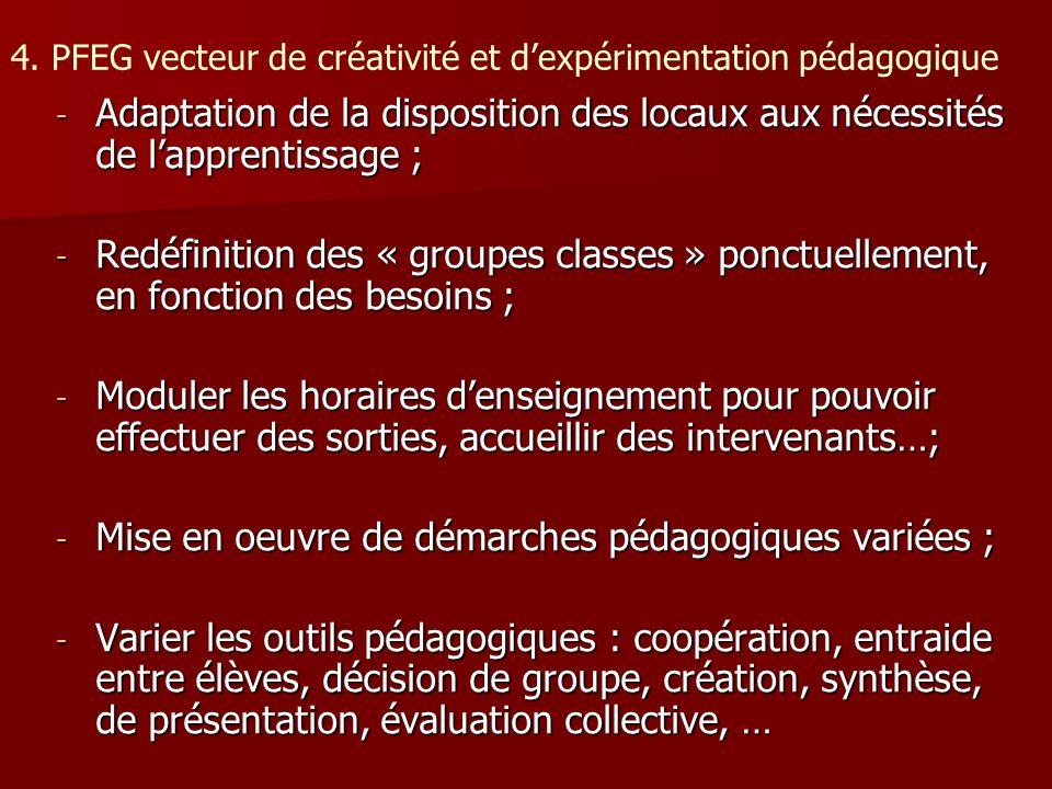 4. PFEG vecteur de créativité et d'expérimentation pédagogique