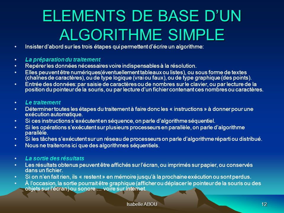 ELEMENTS DE BASE D'UN ALGORITHME SIMPLE