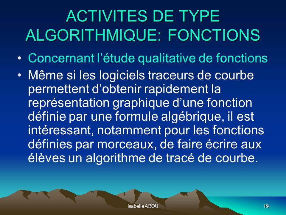 ACTIVITES DE TYPE ALGORITHMIQUE: FONCTIONS