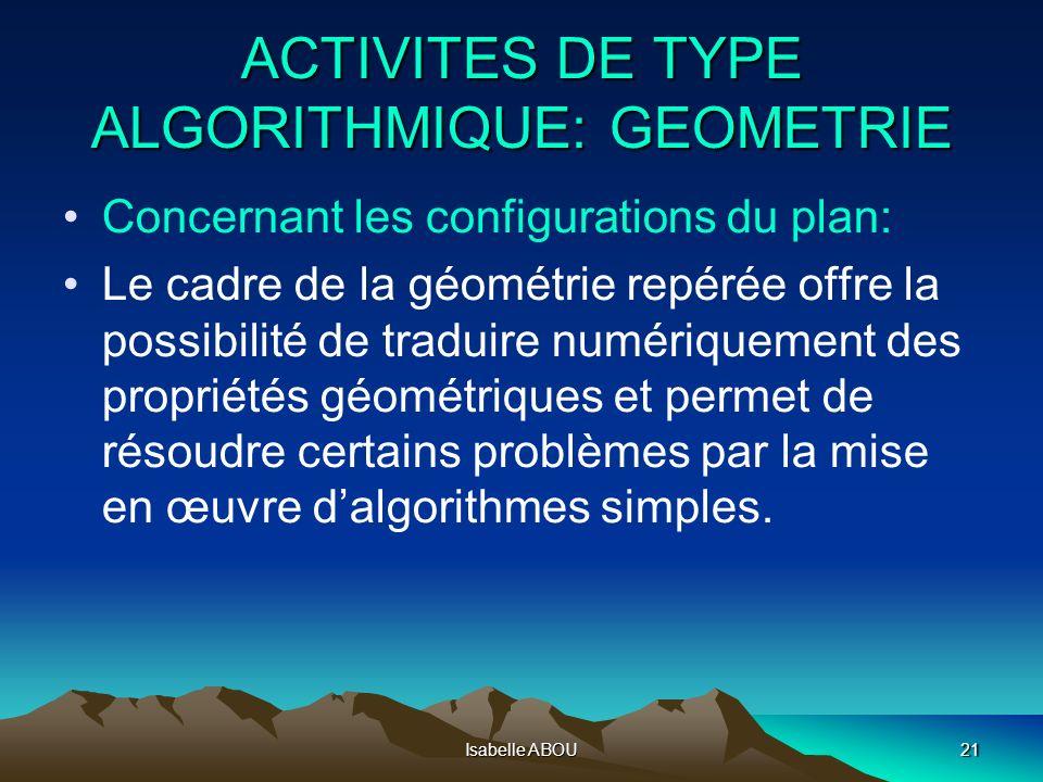 ACTIVITES DE TYPE ALGORITHMIQUE: GEOMETRIE