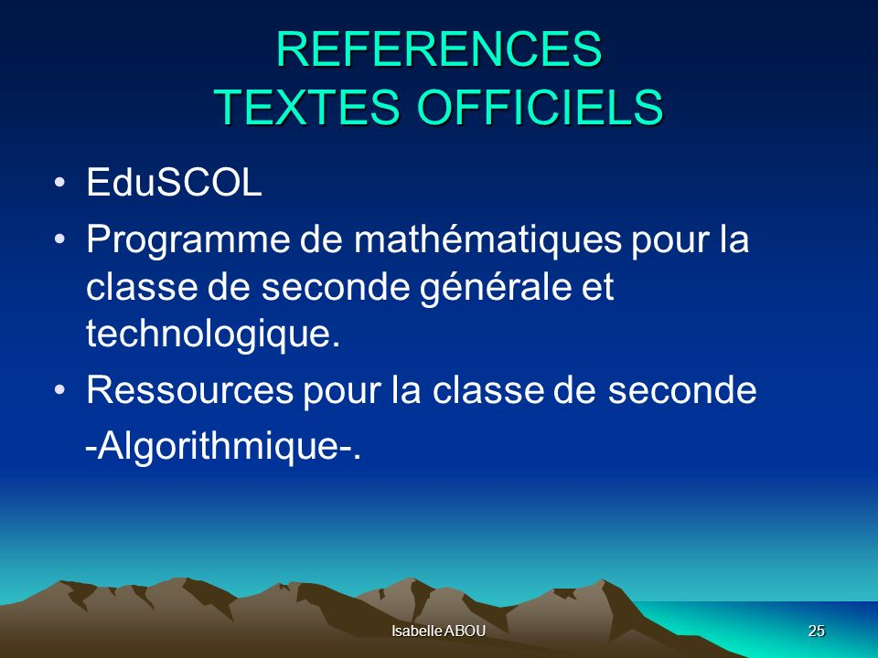 REFERENCES TEXTES OFFICIELS