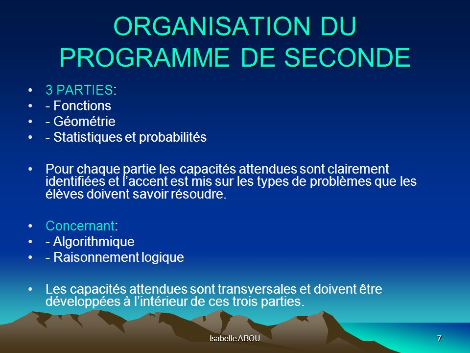 ORGANISATION DU PROGRAMME DE SECONDE