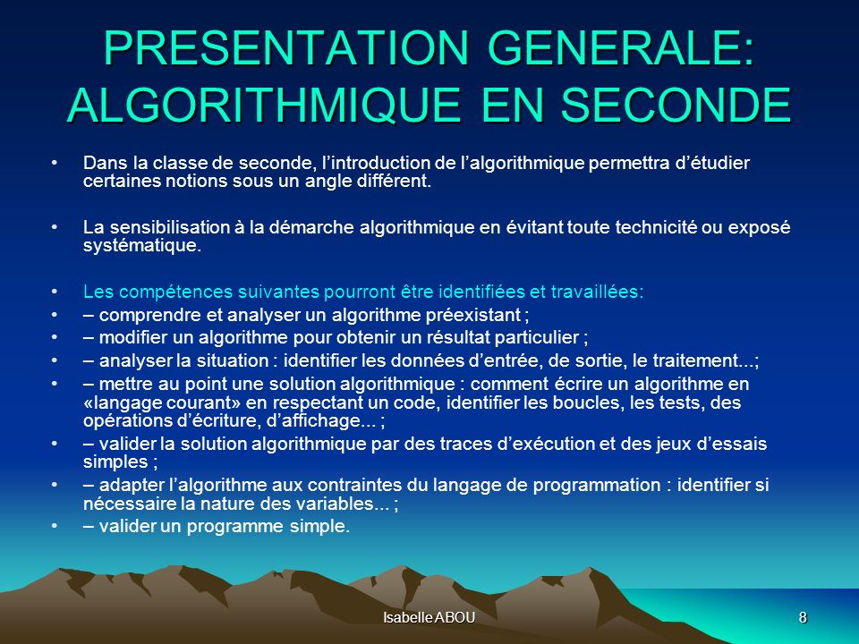 PRESENTATION GENERALE: ALGORITHMIQUE EN SECONDE