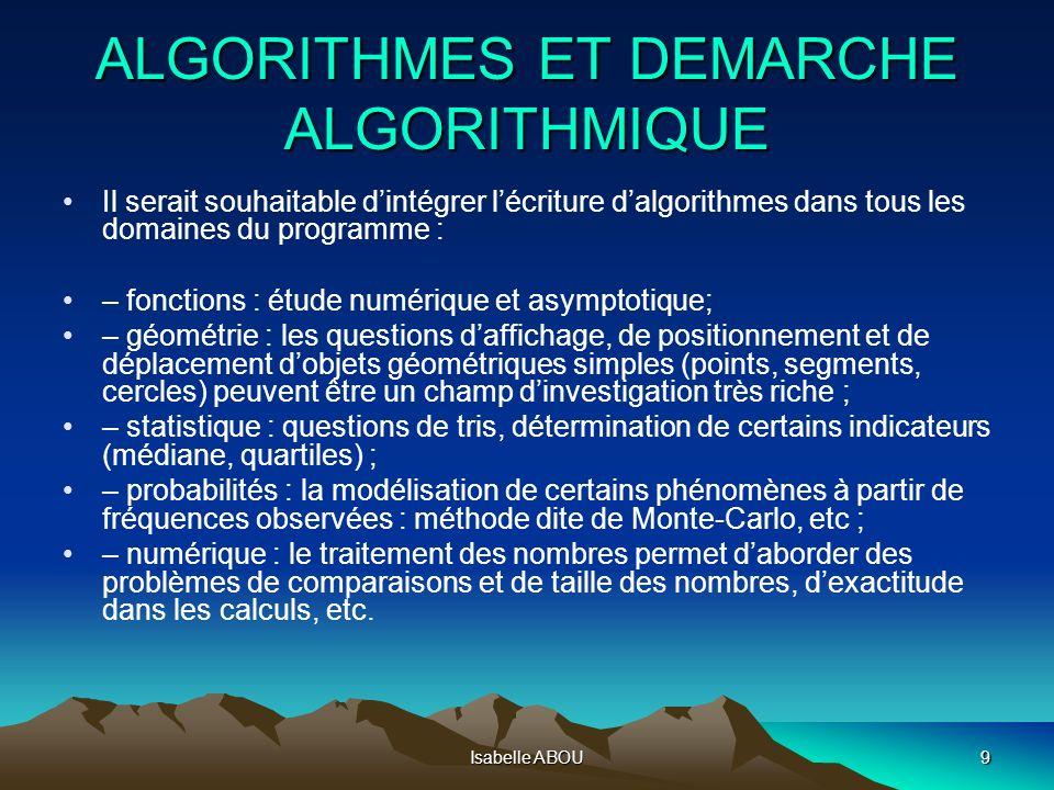 ALGORITHMES ET DEMARCHE ALGORITHMIQUE