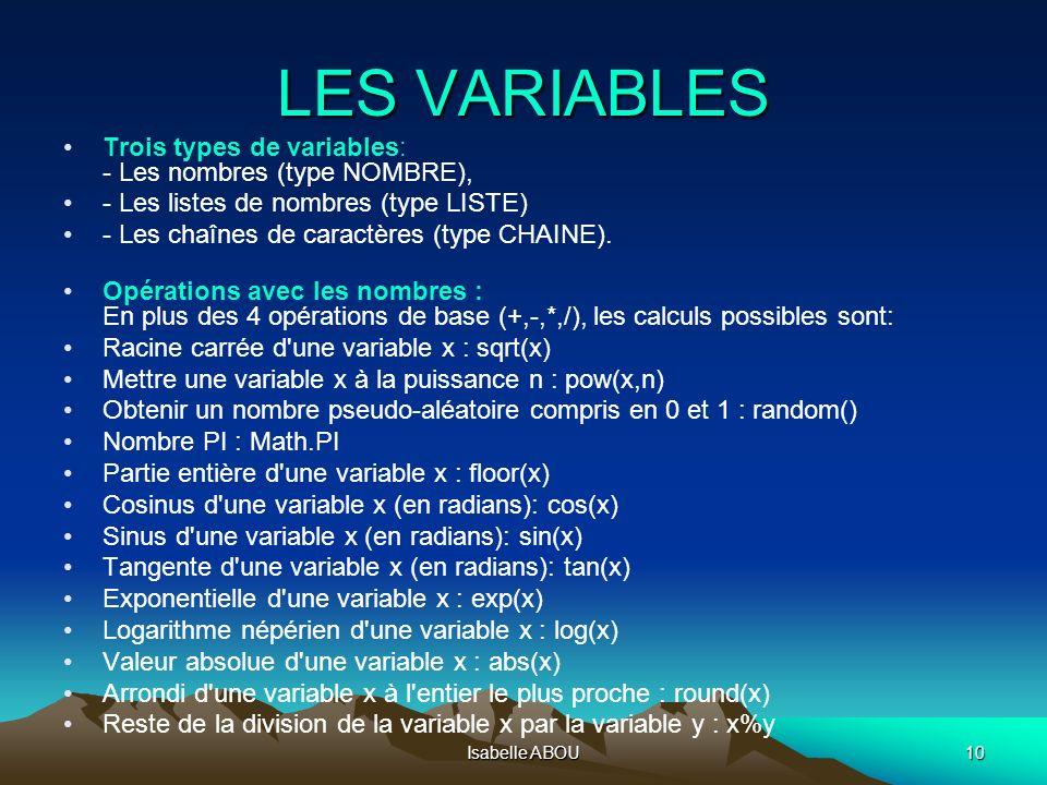 LES VARIABLES Trois types de variables: - Les nombres (type NOMBRE),