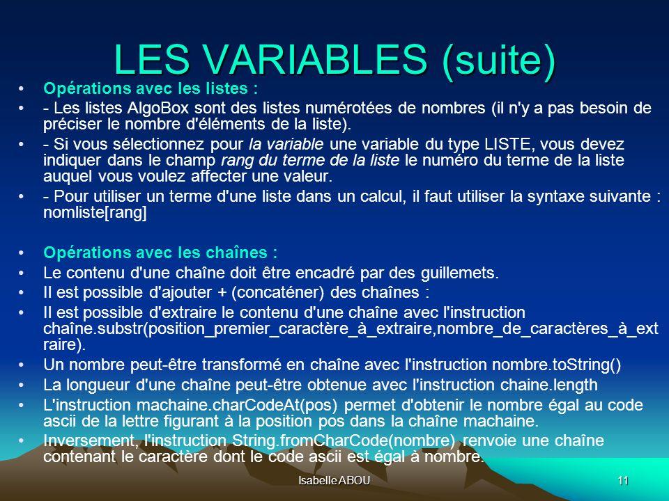 LES VARIABLES (suite) Opérations avec les listes :