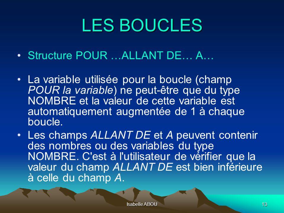 LES BOUCLES Structure POUR …ALLANT DE… A…