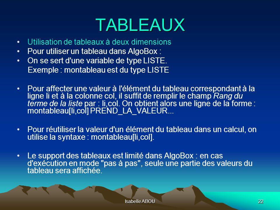 TABLEAUX Utilisation de tableaux à deux dimensions