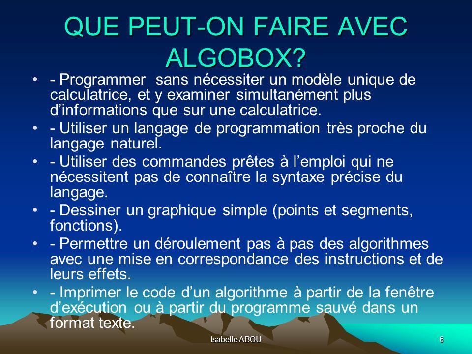 QUE PEUT-ON FAIRE AVEC ALGOBOX