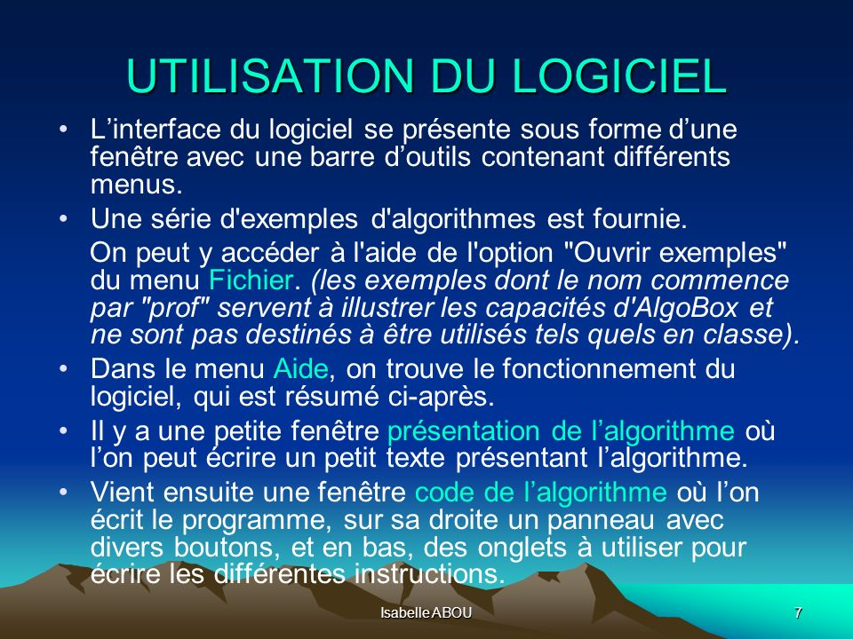 UTILISATION DU LOGICIEL
