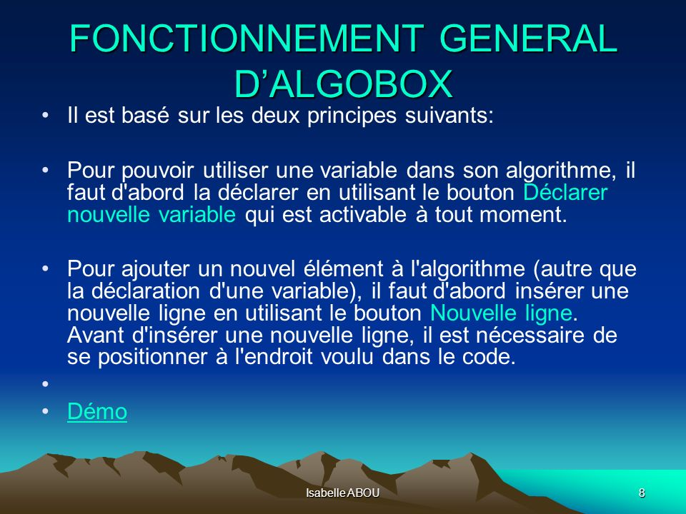 FONCTIONNEMENT GENERAL D'ALGOBOX