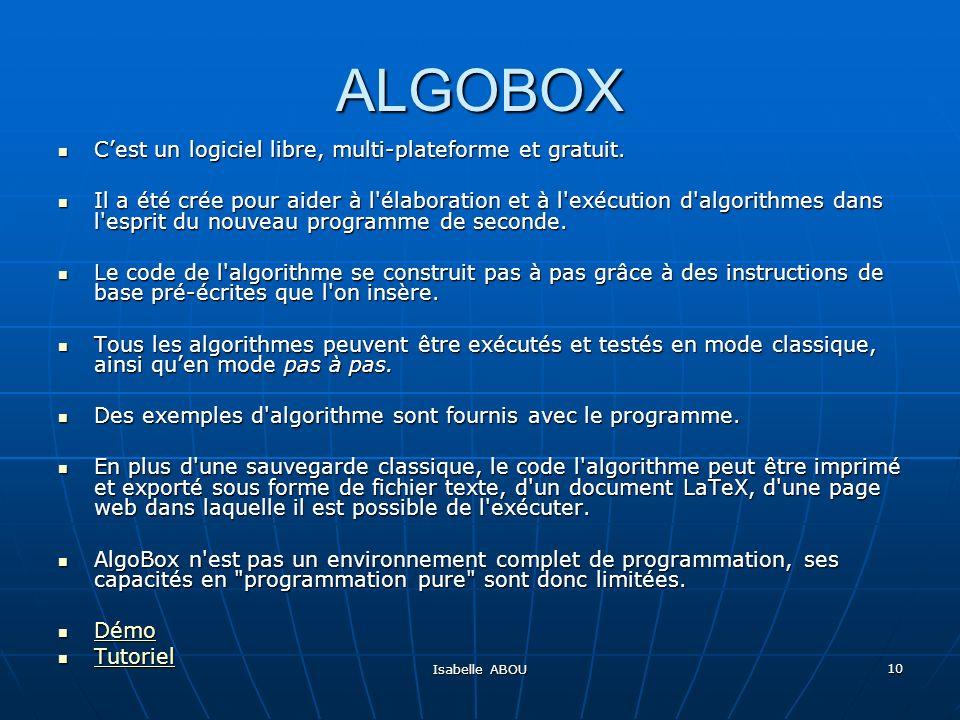 ALGOBOX C'est un logiciel libre, multi-plateforme et gratuit.