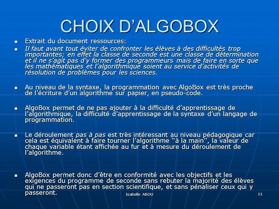 CHOIX D'ALGOBOX Extrait du document ressources: