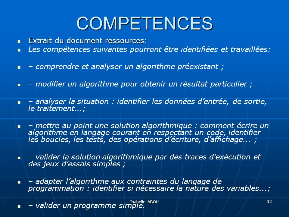 COMPETENCES Extrait du document ressources: