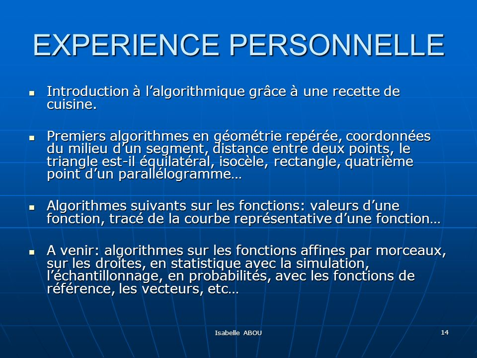 EXPERIENCE PERSONNELLE