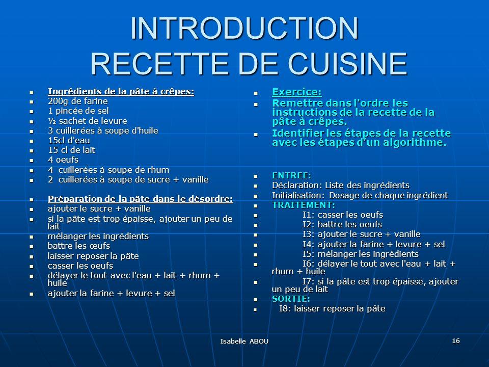 INTRODUCTION RECETTE DE CUISINE