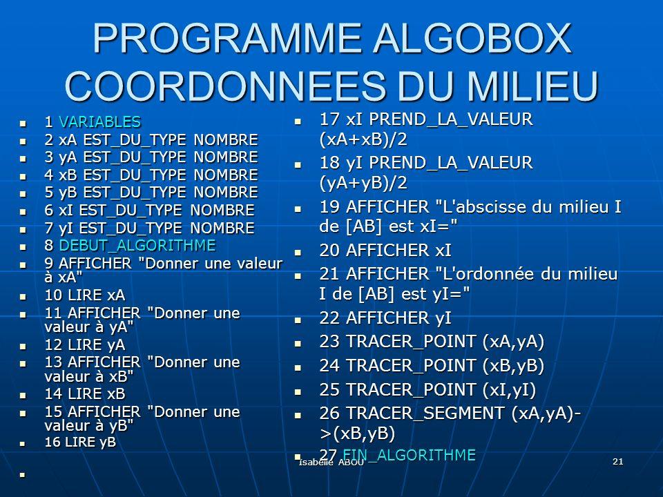PROGRAMME ALGOBOX COORDONNEES DU MILIEU