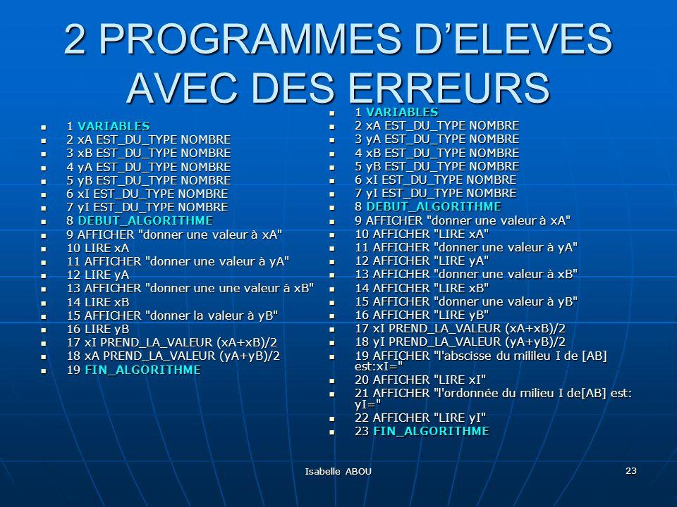 2 PROGRAMMES D'ELEVES AVEC DES ERREURS