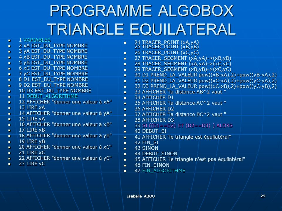 PROGRAMME ALGOBOX TRIANGLE EQUILATERAL