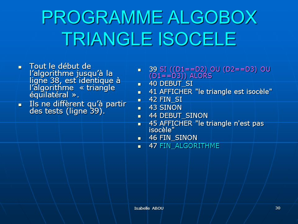 PROGRAMME ALGOBOX TRIANGLE ISOCELE