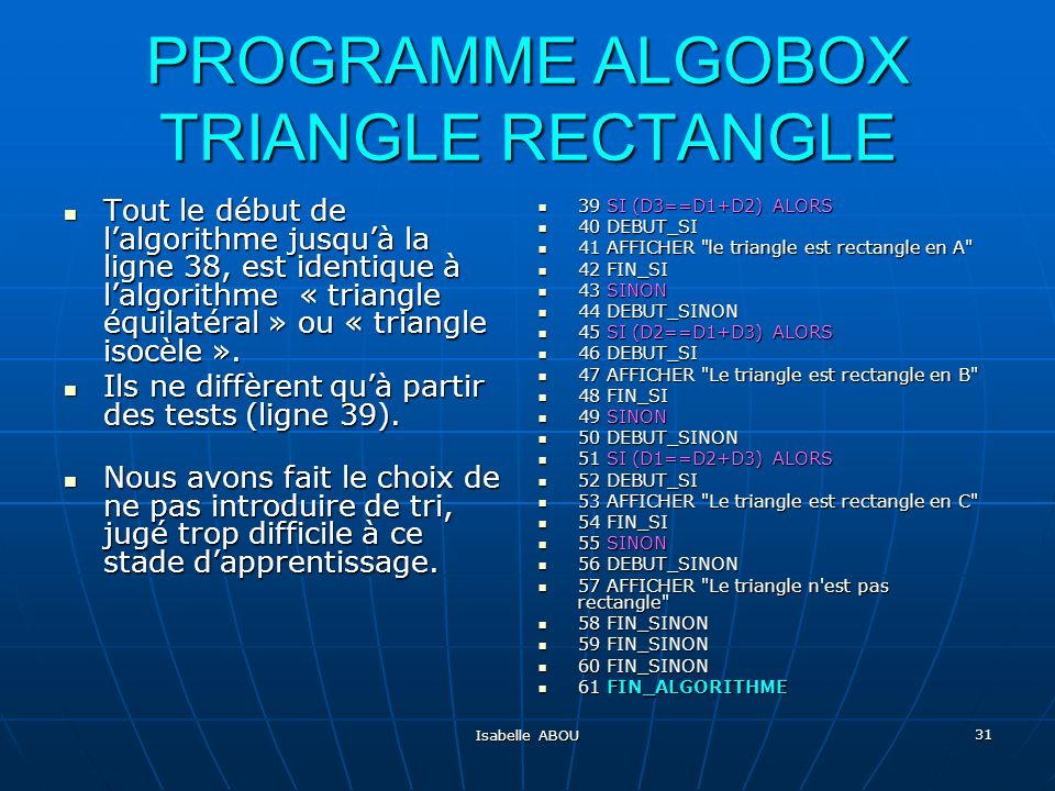 PROGRAMME ALGOBOX TRIANGLE RECTANGLE