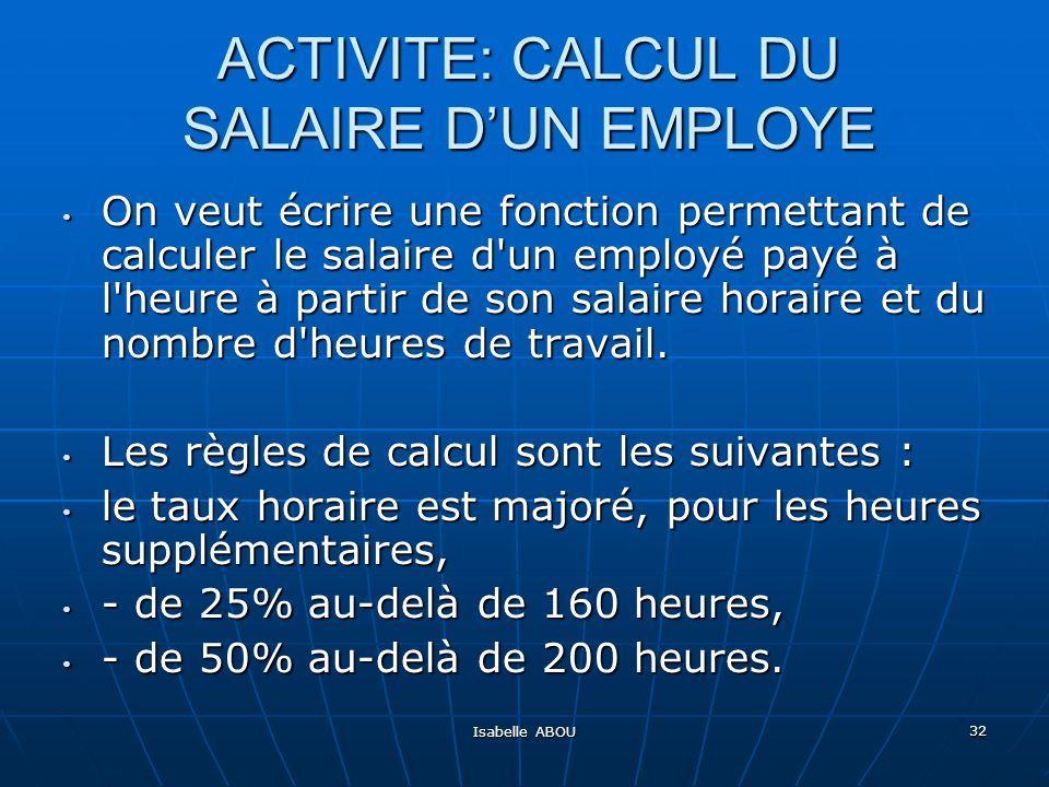 ACTIVITE: CALCUL DU SALAIRE D'UN EMPLOYE