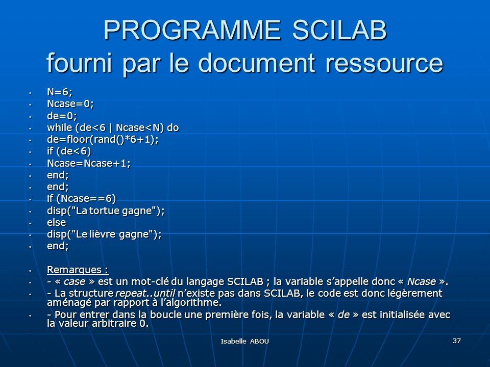 PROGRAMME SCILAB fourni par le document ressource