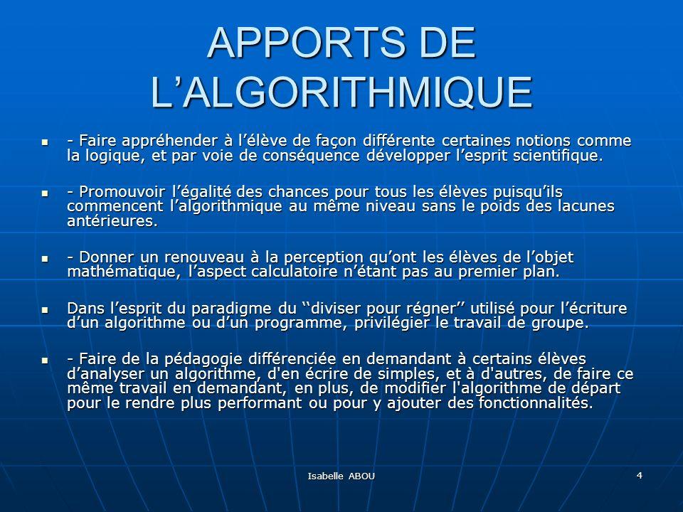 APPORTS DE L'ALGORITHMIQUE