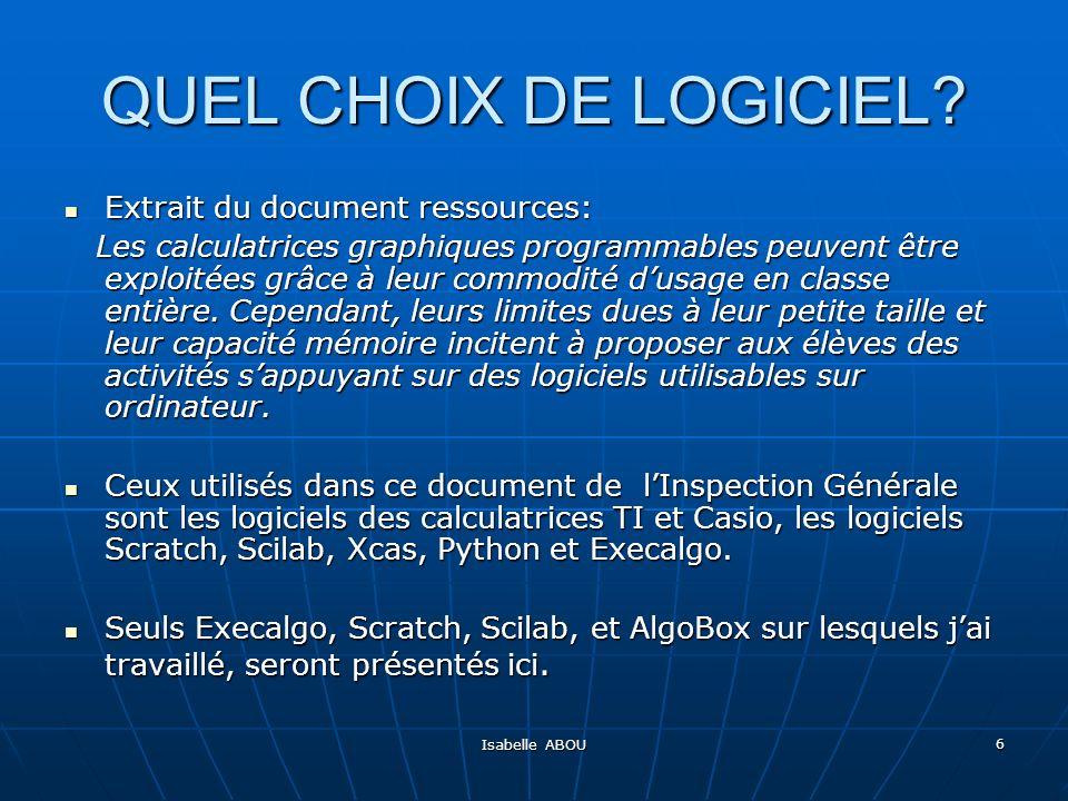 QUEL CHOIX DE LOGICIEL Extrait du document ressources: