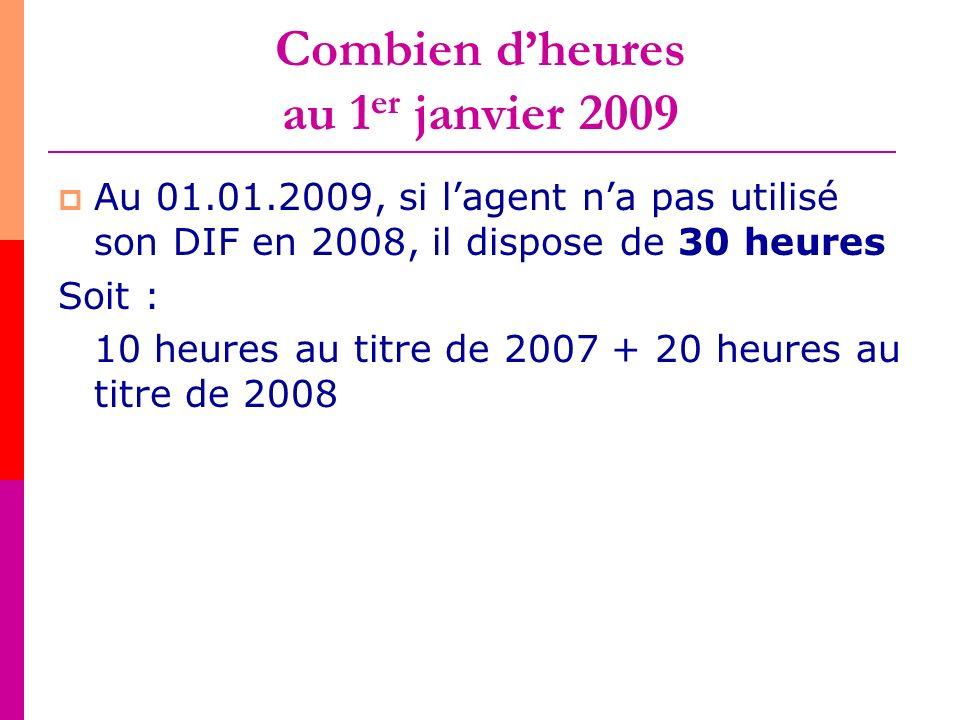 Combien d'heures au 1er janvier 2009