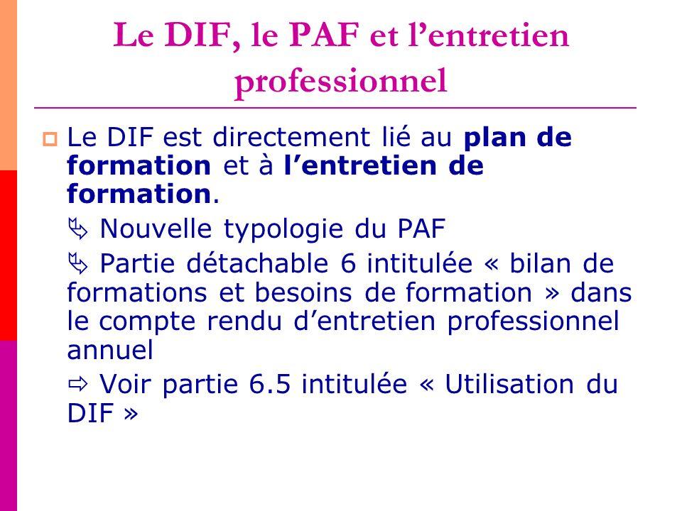 Le DIF, le PAF et l'entretien professionnel