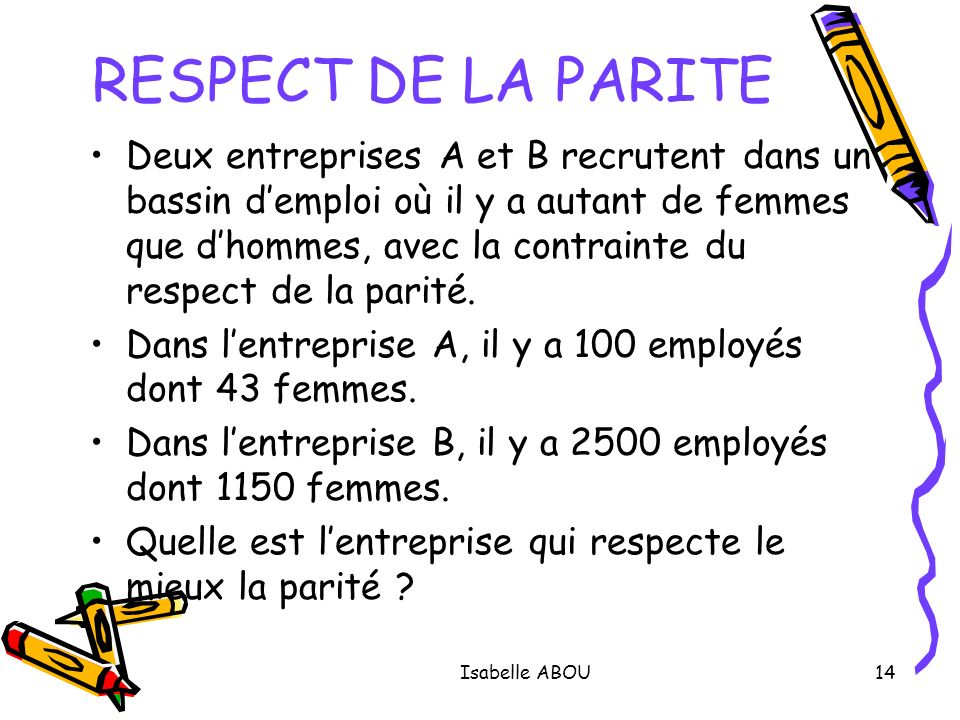 RESPECT DE LA PARITE