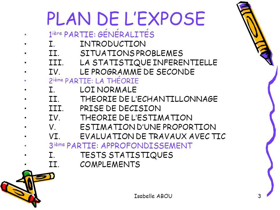 PLAN DE L'EXPOSE 1ière PARTIE: GÉNÉRALITÉS I. INTRODUCTION