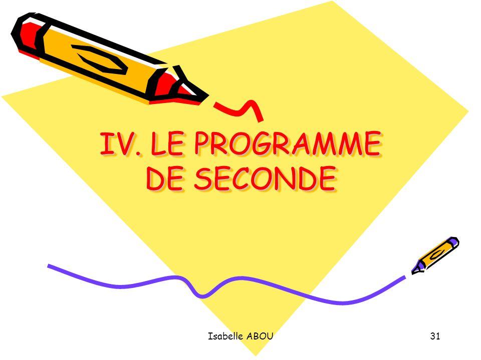 IV. LE PROGRAMME DE SECONDE