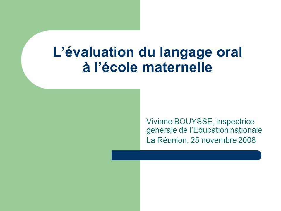 L'évaluation du langage oral à l'école maternelle