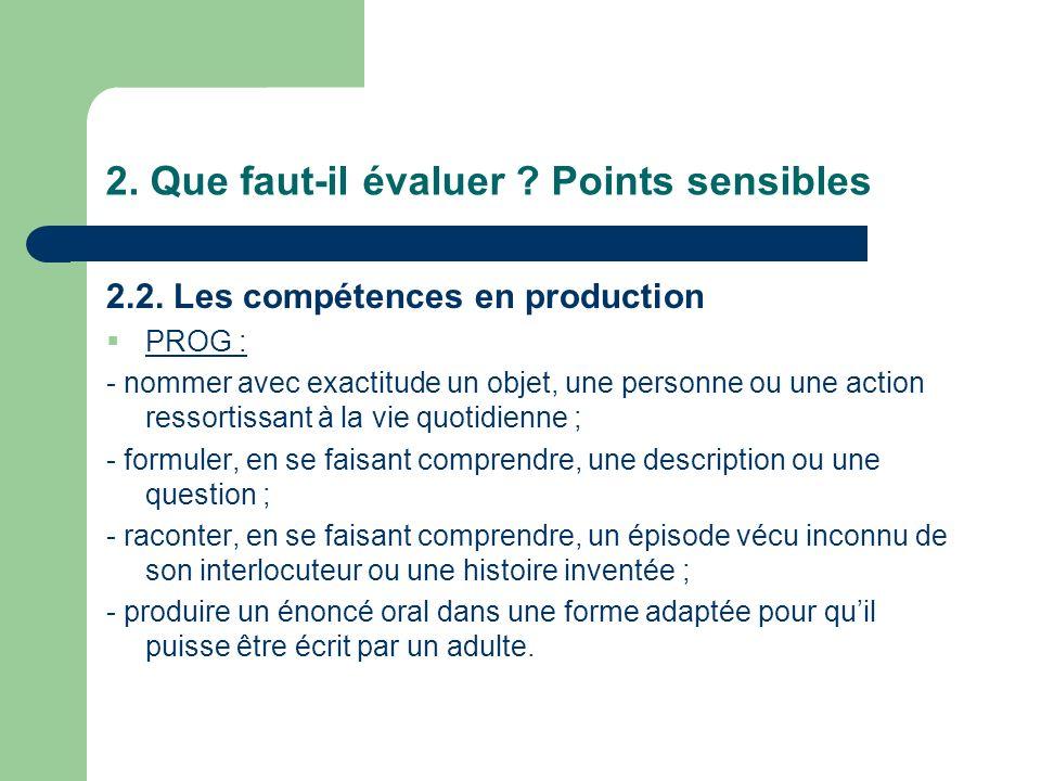 2. Que faut-il évaluer Points sensibles