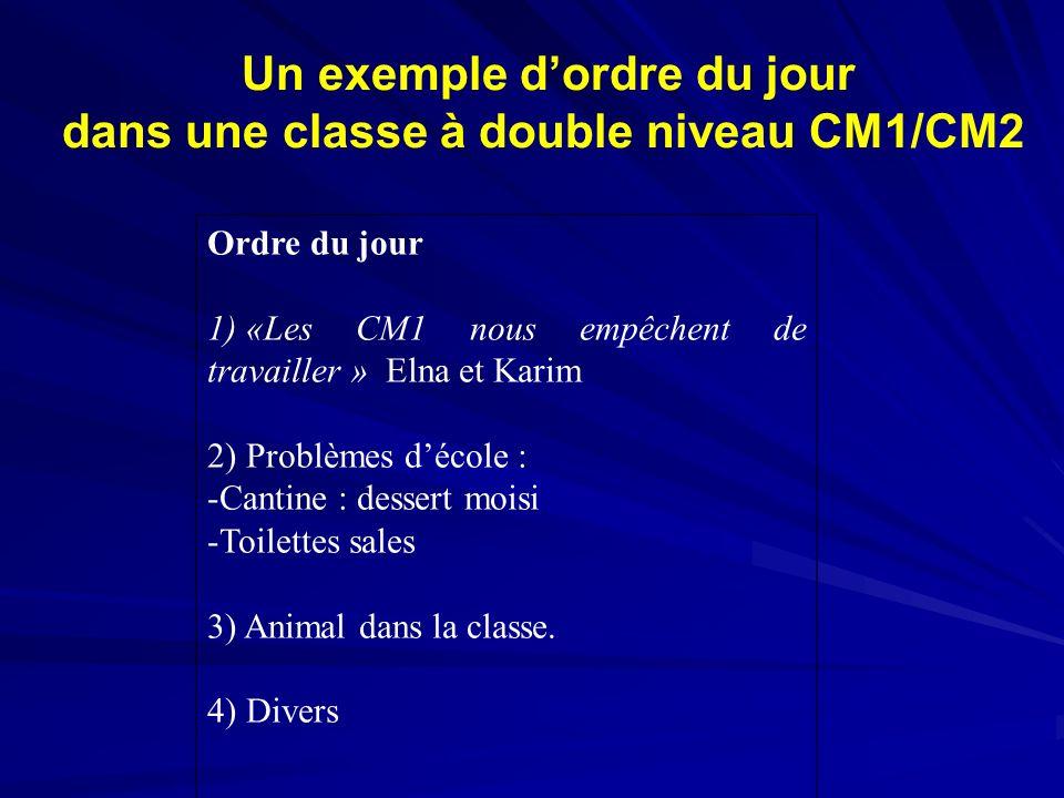 Un exemple d'ordre du jour dans une classe à double niveau CM1/CM2