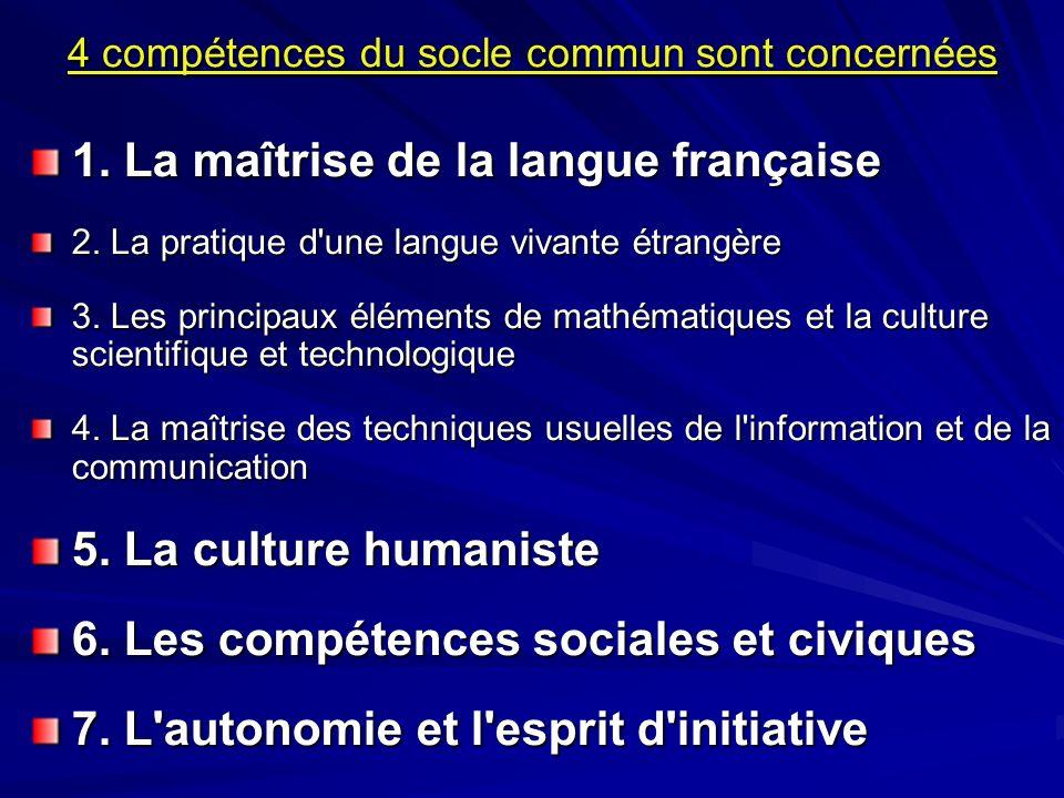 4 compétences du socle commun sont concernées